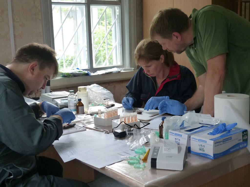 Команда за работой в полевой лаборатории