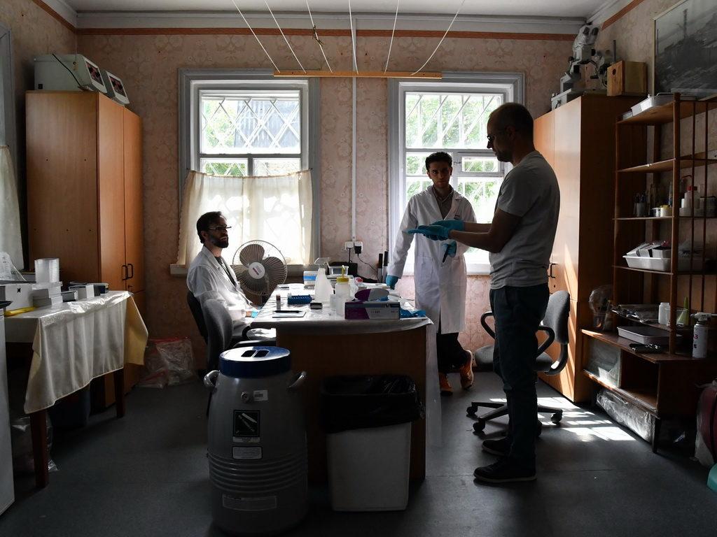 Обсуждение деталей исследования в полевой лаборатории