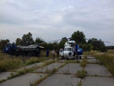 Вертолет МИ-2 с экипажем Аварийно-тренировочного центра ГП НАЭК «Энергоатом»